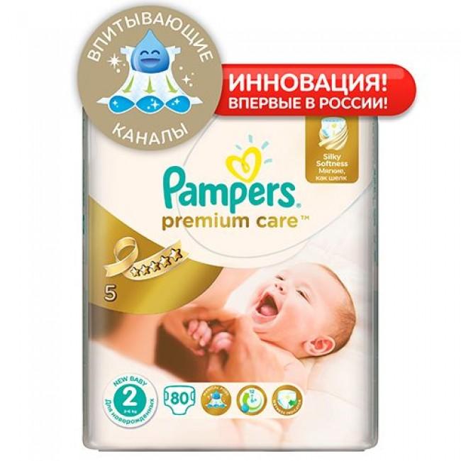 Подгузники PAMPERS Premium Care Mini, 3-6 кг, Экономичная Упаковка 80 шт., р.2