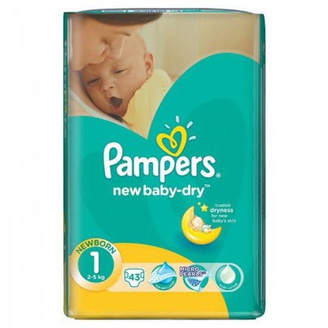 Подгузники PAMPERS New Baby-dry Newborn, 2-5 кг, Экономичная Упаковка 43 шт