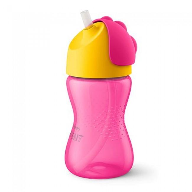 Чашка-поильник AVENT с трубочкой, розовая с желтым 300 мл, 12мес+
