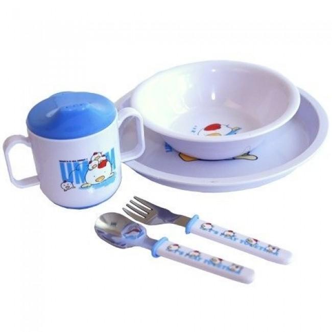 Набор посуды СКАЗКА тарелка, миска, поильник, ложка и вилка