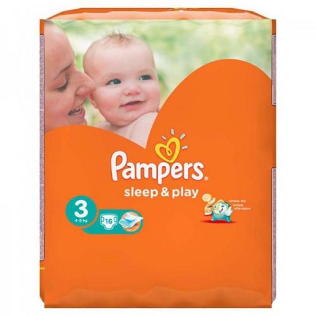 Подгузники PAMPERS Sleep Play Midi, 4-9 кг, Стандартная Упаковка 16 шт., р.3