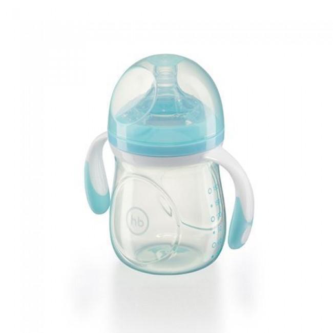 Бутылочка HAPPY BABY с ручками, широкое горло, антиколиковая силиконовая соска, 180 мл