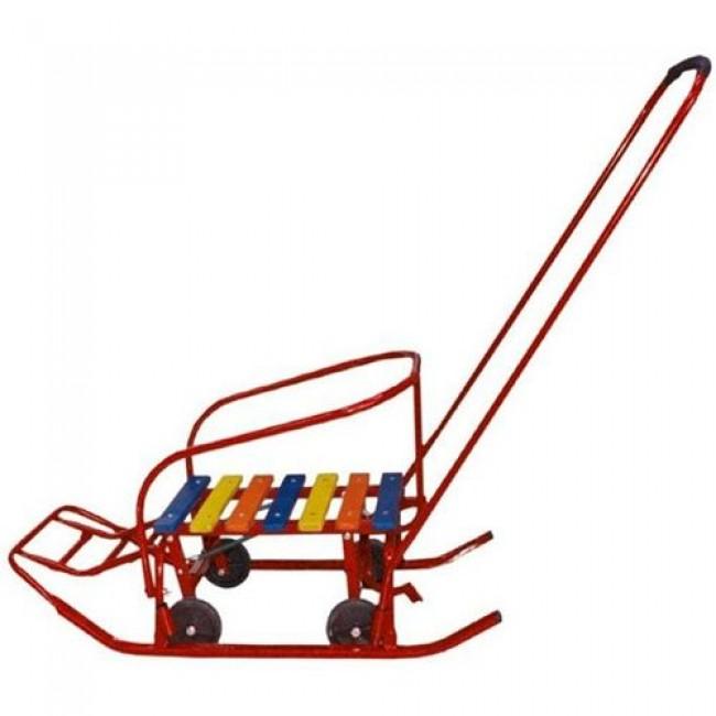 Сани-мобиль МОЁ ДЕТСТВО (Плоские полозья, большие прорезиненные колеса)