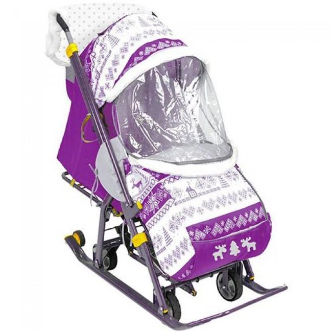 """Санки-коляска NIKA KIDS """"Наши детки""""(плоский полоз 40 мм, перекидн. ручка, регулир.спинка)"""