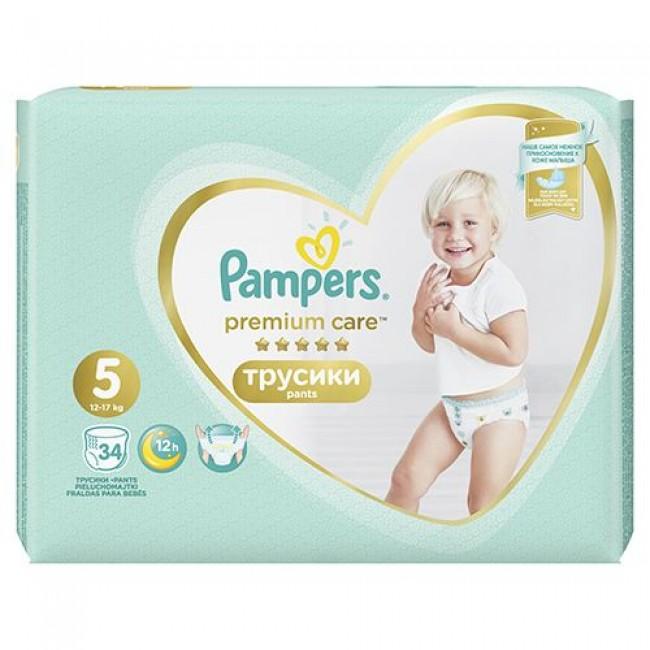 Подгузники-трусики PAMPERS Premium Care Pants Junior,12-17 кг, 34 шт