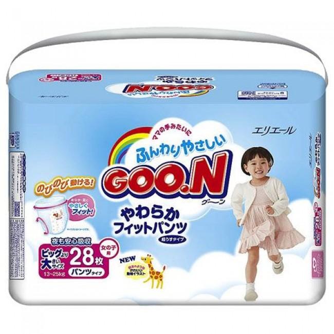 Трусики GOO.N XXL для девочек 13-25 кг. 28 шт.