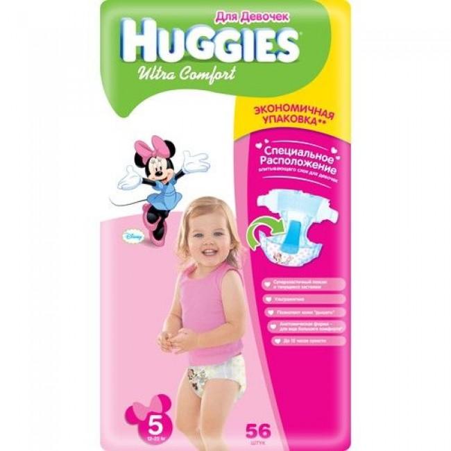 Подгузники HUGGIES Ultra Comfort Mega Pack для девочек 12-22 кг 56 шт. Размер 5