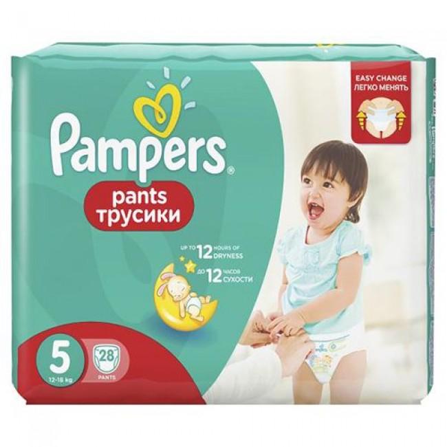 Подгузники-трусики PAMPERS Pants Junior 12-18кг, Средняя Упаковка 28 шт, р.5