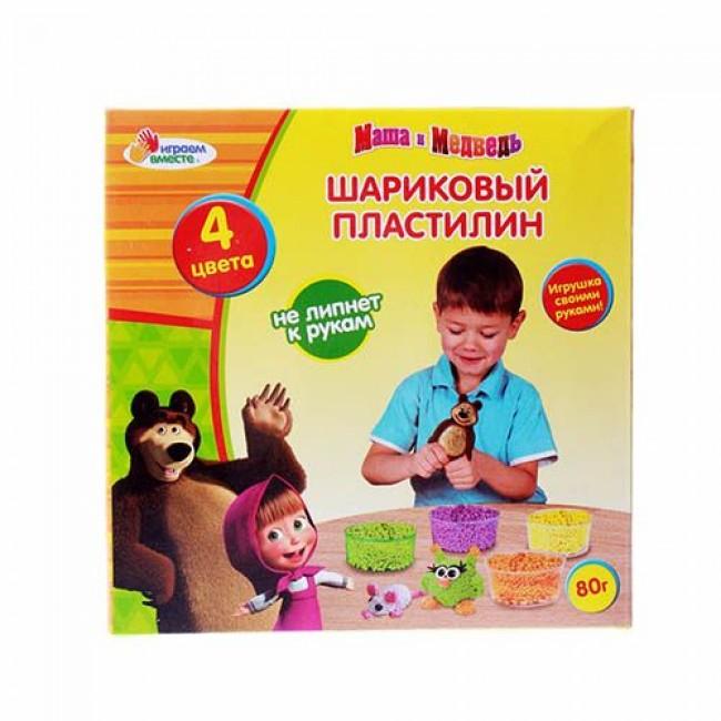 """Пластилин шариковый """"Маша и Медведь"""", 4 цвета, застывающий, MULTIART"""