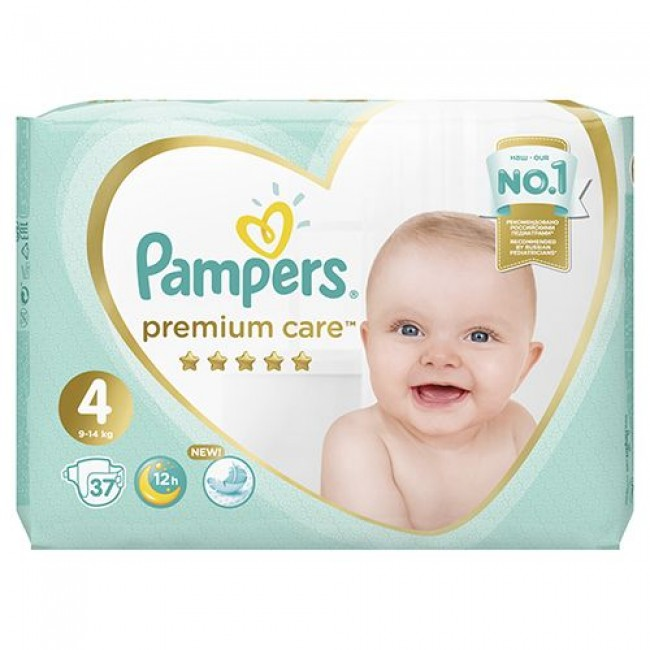 Подгузники PAMPERS Premium Care Maxi, 9-14 кг, экономичная упаковка, 37 шт