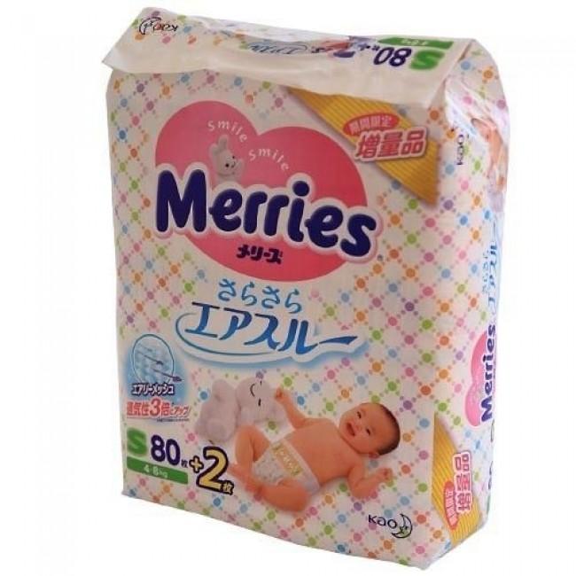 Подгузники MERRIES эконом смолл 4-8 кг, 82 шт