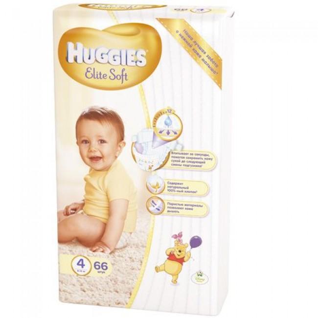 Подгузники HUGGIES ELITE SOFT 4 (8-14кг), 66 шт.