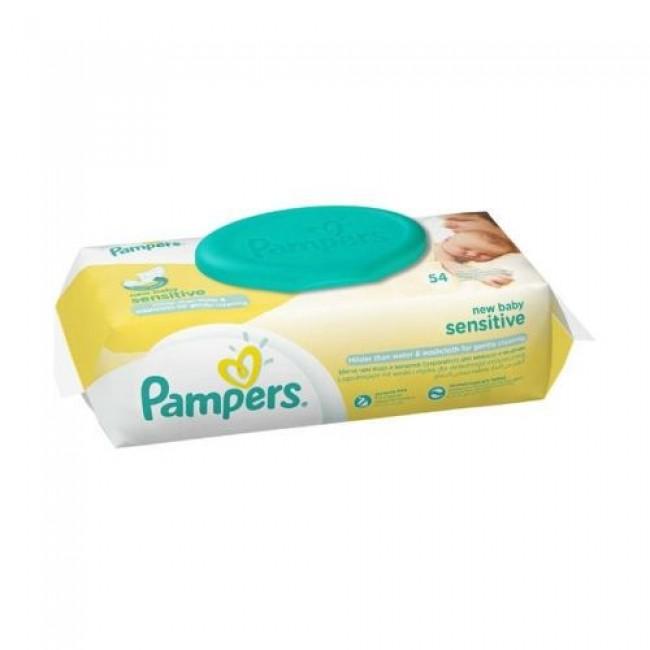 Салфетки влажные PAMPERS Sensitive New Baby Сменный блок 54 шт.
