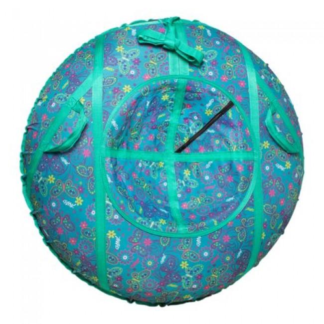 Санки-ватрушки ЕДУ-ЕДУ надувные, Принт,3-х цветные, с кам. НСП+1,диаметр 110см, цвета в ассортименте