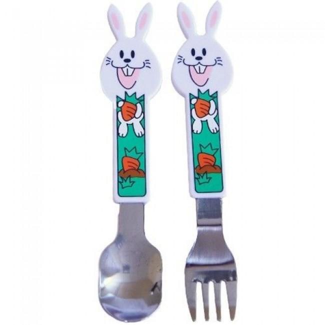 """Набор посуды СКАЗКА ложка + вилка из нержавеющей стали с пластиковыми ручками """"Зайчики"""""""