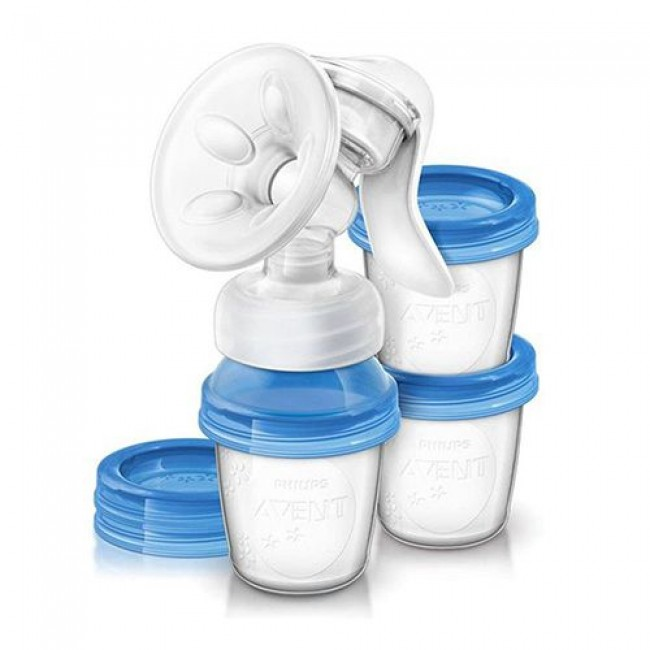 Молокоотсос ручной AVENT Natural c контейнерами для хранения молока и соской, SCF330/13