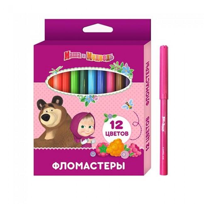 """Фломастеры """"Маша и Медведь"""", 12 цветов, РОСМЭН"""