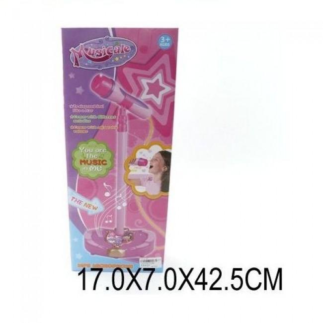 """Игрушка пластмассовая """"Микрофон на стойке"""", розовый, регулировка высоты 45-90 см, SHANTOU GEPAI"""