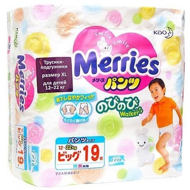 Трусики MERRIES 12-22 кг, 19 шт
