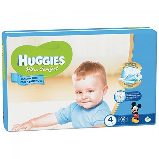 Подгузники HUGGIES Ultra Comfort Giga Pack для мальчиков 8-14 кг 80 шт Размер 4