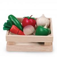 Игровой набор WONDERWORLD WW-4513 Овощи и грибы для нарезки в ящике