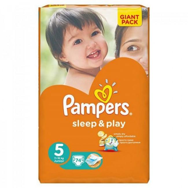 Подгузники PAMPERS Sleep & Play Junior, 11-18 кг, Джайант Упаковка 74 шт р.5