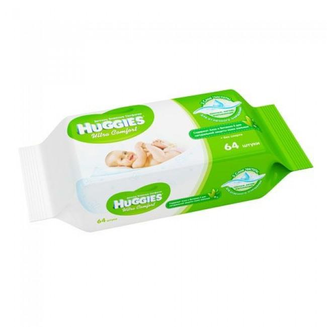 Салфетки влажные HUGGIES Ultra Comfort ALOE в мягкой упаковке 64шт.