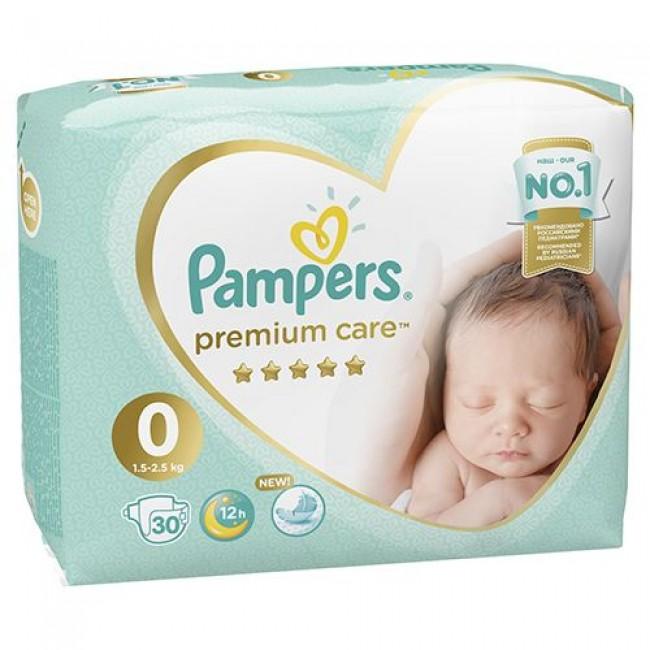 Подгузники PAMPERS Premium Care Newborn, 1,5-2,5 кг, 30 шт