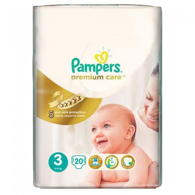 Подгузники PAMPERS Premium Care Midi, 5-9 кг, Средняя Упаковка 20 шт., р.3