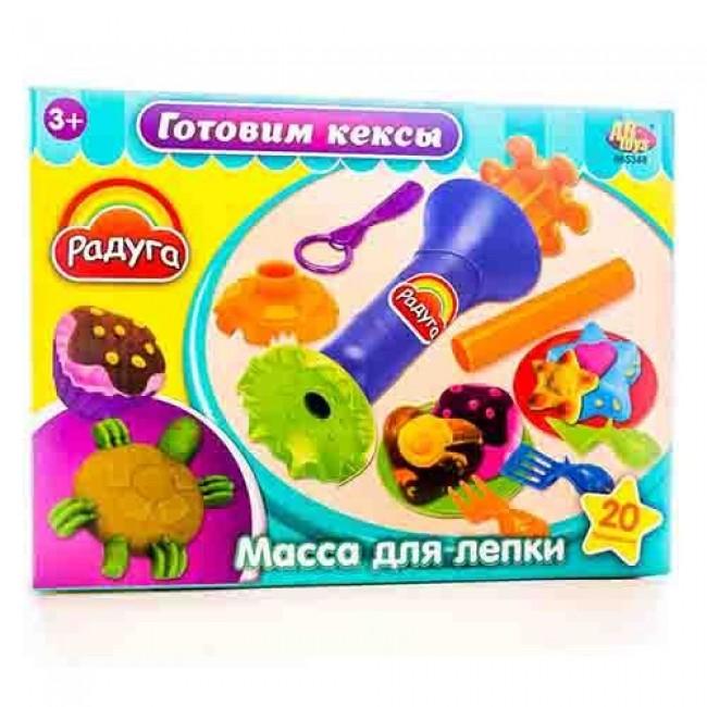 """Набор для детского творчества """"Масса для лепки. Готовим кексы"""", 4 баночки, с аксессуарами, MERX"""