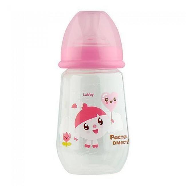 "Бутылочка для кормления LUBBY ""Малышарики"", 250 мл, от 0 мес"