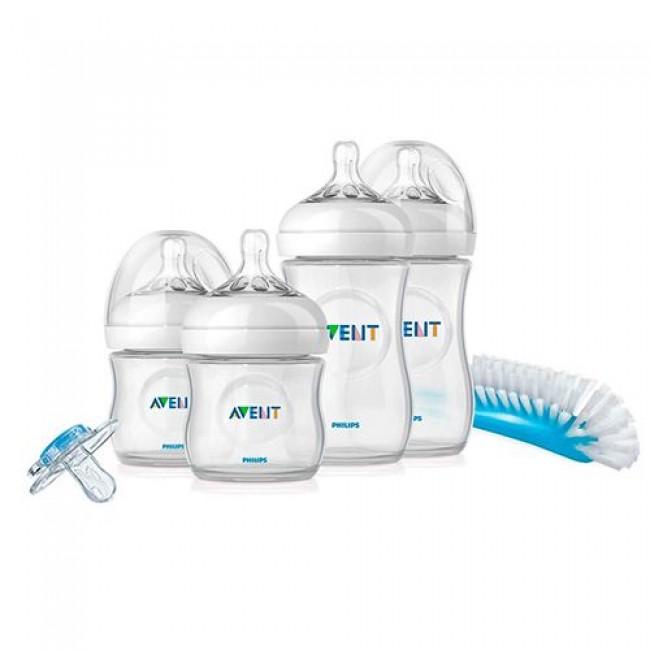 Набор бутылочек для новорожденных AVENT Natural (2х125, 2х260, пустышка, щеточка)