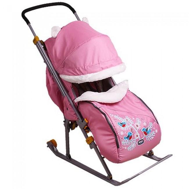"Санки-коляска NIKA KIDS""Ника Детям 6""(плоск.полоз,перекид.ручка,колесо,рег.спинка до пол.лежа,чехол)"