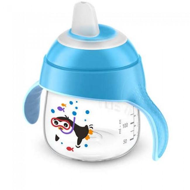 Чашка-поильник AVENT Comfort с носиком, голубая, с пингвином, с 6 мес., 200 мл