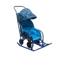 Сани-мобиль МОЁ ДЕТСТВО (Плоские полозья, большие прорезиненные колеса,двухсекционный козырёк)
