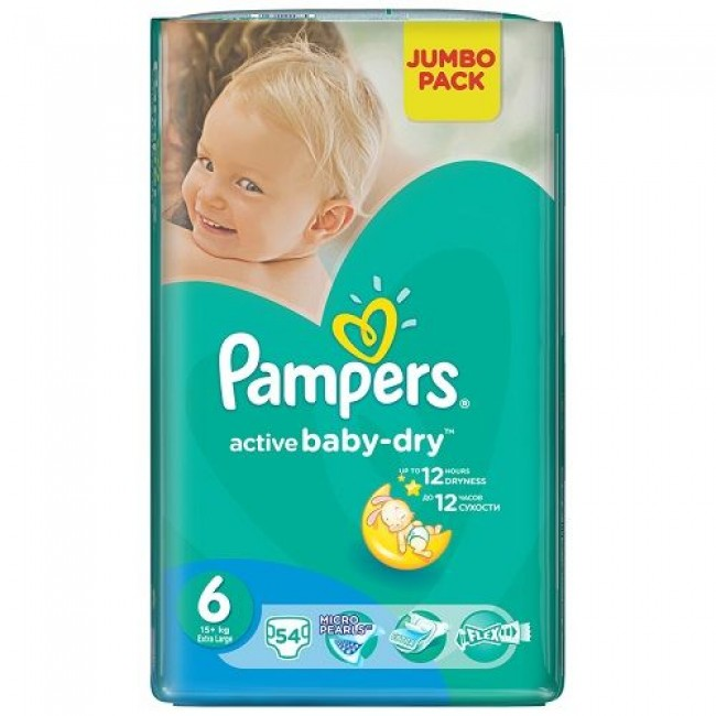 Подгузники PAMPERS Active Baby-dry Extra Large, 15+ кг, Джамбо Упаковка 54шт.