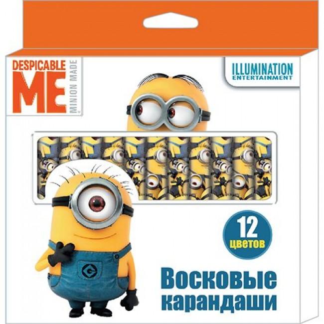 """Восковые карандаши, 12 цветов, """"Despicable Me"""", МИНЬОНЫ"""