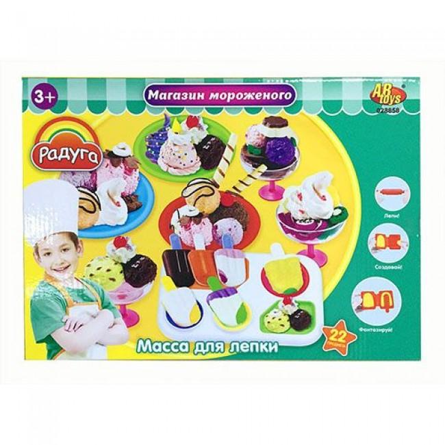 """Набор для детского творчества """"Масса для лепки. Магазин мороженого"""", 6 баночек, с аксессуарами, MERX"""