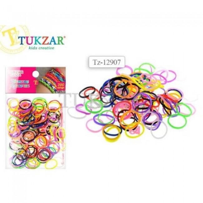 """Набор для детского творчества """"Цветные резиночки"""", разноцветные, 200 шт, крючок, TUKZAR"""