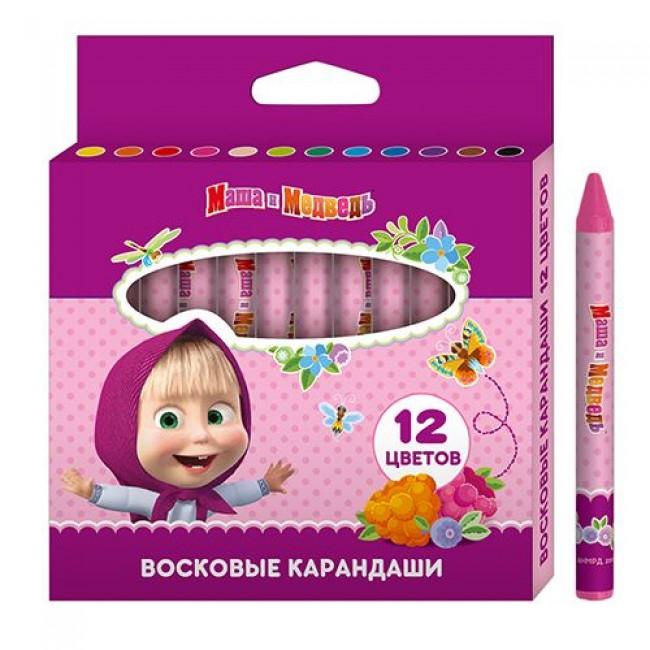 """Восковые карандаши """"Маша и Медведь"""", 12 цветов, РОСМЭН"""