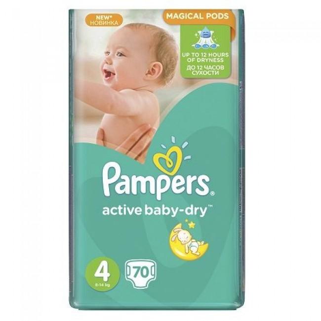 Подгузники PAMPERS Active Baby-dry Maxi, 8-14 кг, Джамбо Упаковка 70 шт., р.4