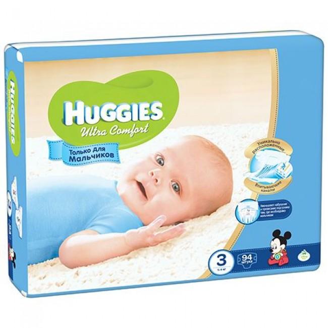 Подгузники HUGGIES Ultra Comfort Giga Pack для мальчиков 5-9 кг 94 шт Размер 3