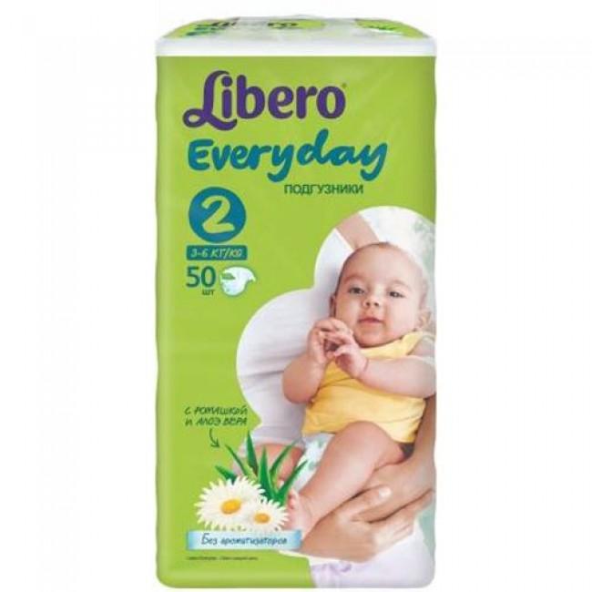 Подгузники LIBERO Everyday Mini 3-6 кг, экономичная упаковка, 50 шт