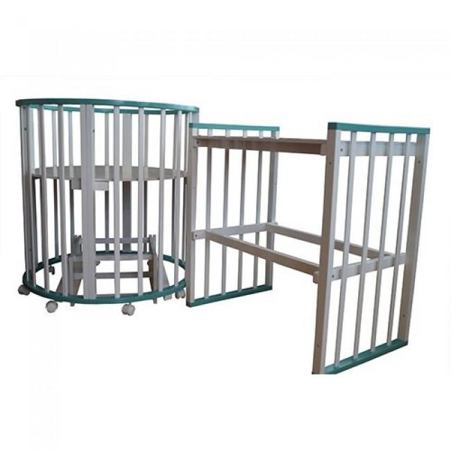 """Кроватка детская """"Лаура 6 в 1"""" трансформер, овальная, манеж, маятник поперечный, пеленальный столик"""