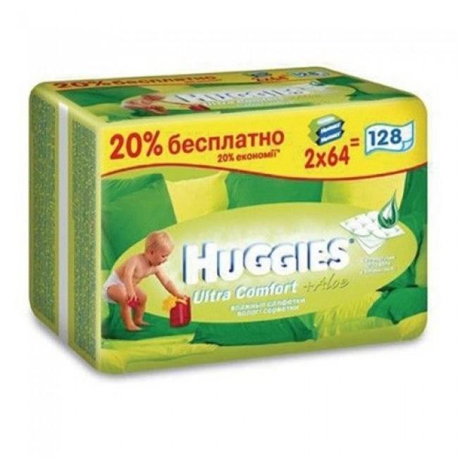 Салфетки влажные HUGGIES Ultra Comfort+ALOE сменный блок 2Х64шт