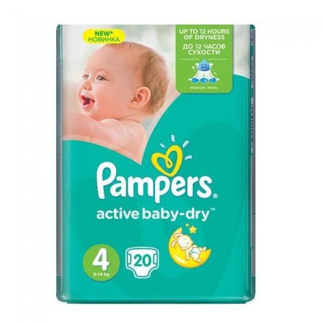 Подгузники PAMPERS Active Baby-dry Maxi, 8-14 кг, Стандартная Упаковка 20 шт., р.4