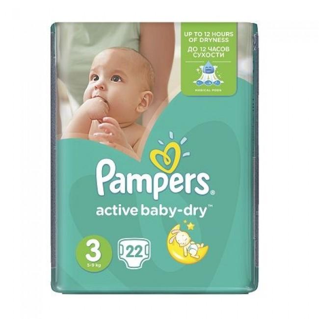 Подгузники PAMPERS Active Baby-dry Midi, 5-9 кг, Стандартная Упаковка 22 шт., р.3