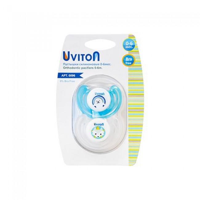 Пустышка UVITON силиконовая ортодонтическая, 2 шт в уп., 0-6мес.