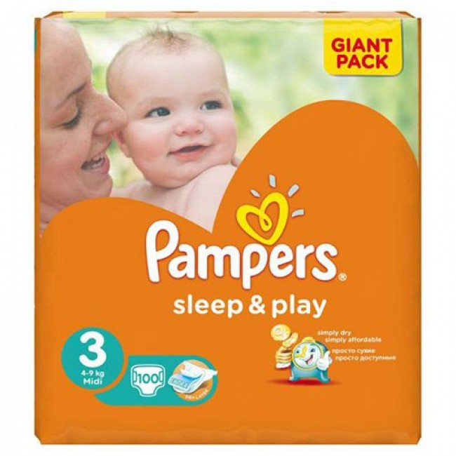 Подгузники PAMPERS Sleep & Play Midi, 4-9 кг, Джайант Упаковка 100 шт, р.3