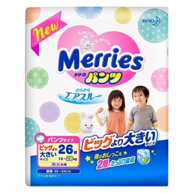 Трусики MERRIES маленькая пачка SuperBig 15-28 кг, 26 шт.